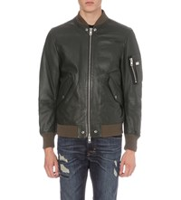 Diesel L Kit Leather Bomber Jacket Green