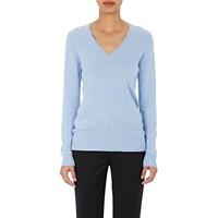 Barneys New York Melange V Neck Sweater Blue