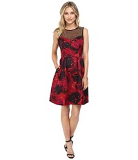 Maggy London Printed Floral Texture Fit And Flare Black Red Women's Dress