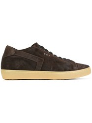 Leather Crown Extended Sole Sneakers Brown