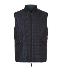 Canali Reversible Padded Gilet Male Dark Green