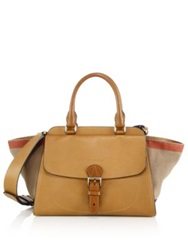 Burberry Harcourt Medium Leather And House Check Canvas Satchel Saddle