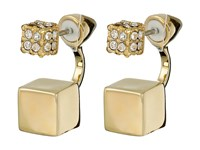 Vince Camuto Pave Block Front Back Earrings Gold Crystal Earring