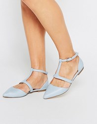 Asos Letty Pointed Ballet Flats Blue