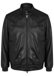 Pal Zileri Black Leather Biker Jacket