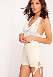 Missguided Tie Detail High Waisted Shorts White White