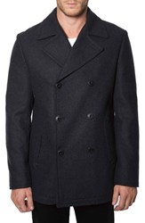 Men's 7 Diamonds 'Seville' Wool Blend Double Breasted Peacoat Charcoal