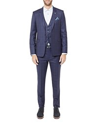 Ted Baker Hikickj Debonair Checked Wool Regular Fit Jacket Navy
