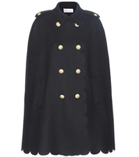 Red Valentino Wool Blend Cape Blue