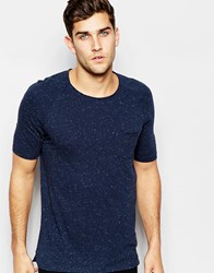 Sisley Scoop Neck T Shirt With Nep Yarn Navy