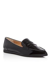 Michael Michael Kors Connor Patent Pointed Toe Penny Loafers Black
