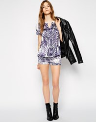 Colorblock Color Block Shorts In Tropical Print Purple