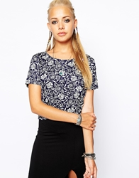 Glamorous Cropped T Shirt In Baroque Floral Multi
