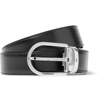 Montblanc 3Cm Black Leather Belt