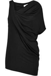 Bailey 44 Tempest Asymmetric Draped Stretch Jersey Top Black
