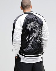 Asos Bomber Jacket With Tiger Embroidery In Black Black