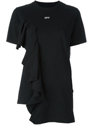 Off White Ruffle Trimmed Logo T Shirt Black