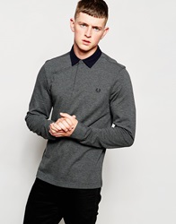 Fred Perry Long Sleeve Polo Shirt With Woven Trim In Grey Graphitemarl