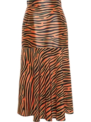 House Of Holland Zebra Print Silk Midi Skirt Yellow And Orange