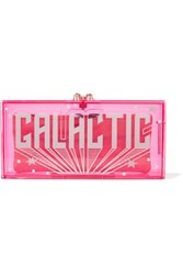 Charlotte Olympia Galactic Penelope Embellished Perspex Clutch Bright Pink