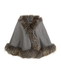 Harrods Of London Cashmere Hooded Cape With Raccoon Trim Female Grey