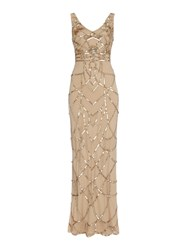 Biba Art Deco Inspired Fully Beaded Maxi Dress Gold