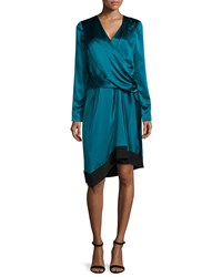 J. Mendel Long Sleeve Drape Front Gown Empress Green Noir
