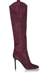 Tamara Mellon Crazy Ride Suede Knee Boots Burgundy