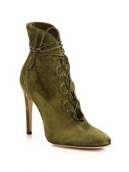 Gianvito Rossi Marais Suede Lace Up U Booties Marais Black