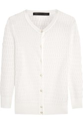 Marc By Marc Jacobs Rose Open Knit Cotton Blend Cardigan White