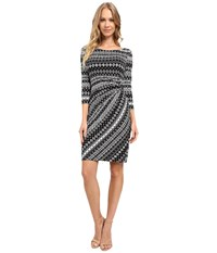 Tahari By Arthur S. Levine Faux Wrap 3 4 Sleeve Printed Jersey Dress White Black Women's Dress