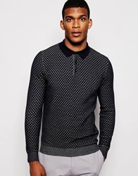 Reiss Long Sleeve Knitted Textured Polo Shirt Navy