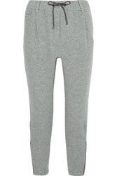 Brunello Cucinelli Wool And Cashmere Blend Track Pants Light Gray