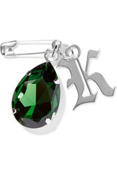 Christopher Kane Silver Tone Swarovski Crystal Brooch Green