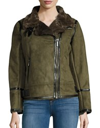 Michael Kors Faux Fur Lined Moto Jacket Olive Green