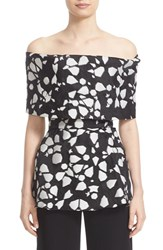 Lela Rose Women's Shatter Print Fil Coupe Off The Shoulder Peplum Top