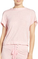 Betsey Johnson Women's Lace Up Back Terry Sweatshirt Party Girl Pink Heather