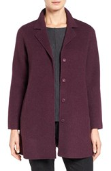 Eileen Fisher Women's Brushed Wool Blend Double Face Notch Collar Coat Raisonette