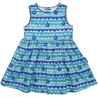 Toby Tiger Boat Baby Dress Blue
