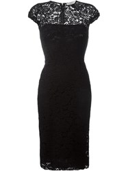 Victoria Beckham Fitted Lace Dress Black