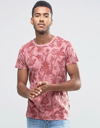Jack And Jones Crew Neck Floral Print T Shirt Red