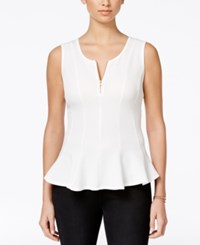 Amy Byer Bcx Juniors' Sleeveless Zip Front Peplum Top White