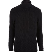 Only And Sons River Island Mens Navy Knit Roll Neck Jumper