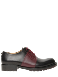 Valentino Color Block Leather Derby Lace Up Shoes Black Bordeaux
