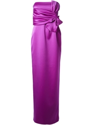 Raoul Bow Detail Strapless Gown Pink And Purple