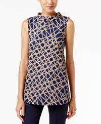 Alfani Mock Neck Printed Top Only At Macy's Painted Web Camel