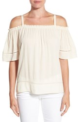 Gibson Women's Ladder Stitch Detail Off The Shoulder Top Butter