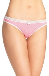 Betsey Johnson Women's Print Thong Mini Stripe Cheeky Pink
