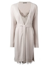 Alberta Ferretti Lace Inset Knitted Dress Nude And Neutrals
