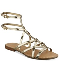 Guess Women's Mannie Strappy Flat Sandals Women's Shoes Gold